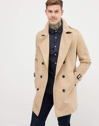 Asos DESIGN shower resistant double breasted trench in stone