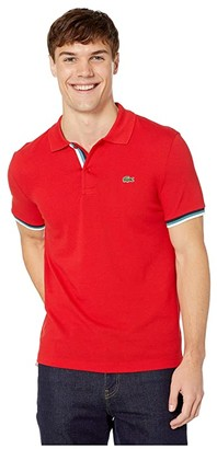 Lacoste Short Sleeve 2 Ply Pique Slim Fit Striped Bottom Sleeve Polo