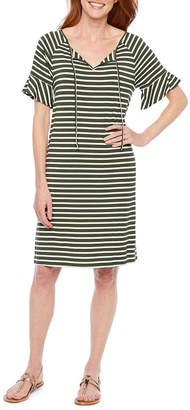 ST. JOHN'S BAY Short Sleeve Striped A-Line Dress