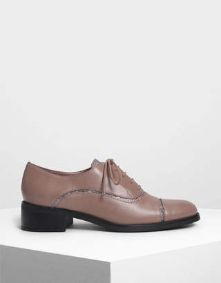 Charles & Keith Glitter Panel Oxfords