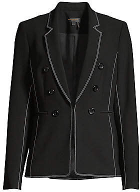 Donna Karan Women's Embroidered Trim Button Blazer