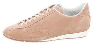 Santoni Suede Round-Toe Sneakers