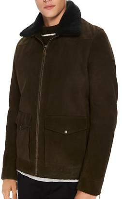 Scotch & Soda Faux Shearling-Trimmed Suede Military Jacket