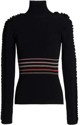 Roksanda Ruffle-Trimmed Striped Ribbed-Knit Turtleneck Sweater