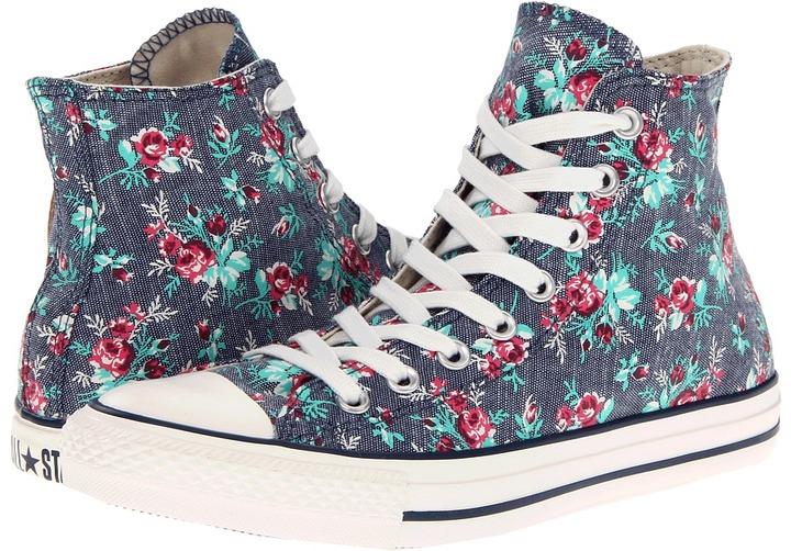 Converse Chuck Taylor All Star Printed Canvas Hi (Dark Denim) - Footwear