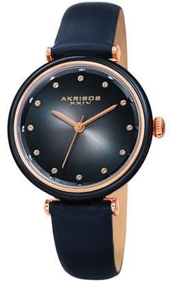 Akribos XXIV Blue Casual Quartz Watch With Leather Strap [AK1035BU]