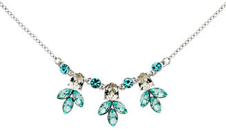 Monet Navette Rhodium Plated Glass Crystal Necklace, Silver/Aqua