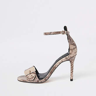 River Island Beige snake buckle barely there sandals