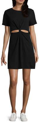 Arizona Short Sleeve Tie Dye T-Shirt Dresses - Juniors