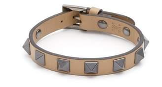 Valentino Rockstud Embellished Leather Bracelet - Mens - Brown