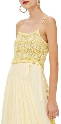 Topshop Sequin Lace Crop Camisole