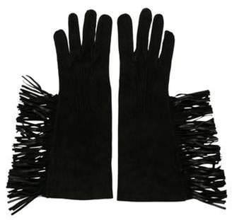 Lanvin Fringe Suede Gloves Black Fringe Suede Gloves