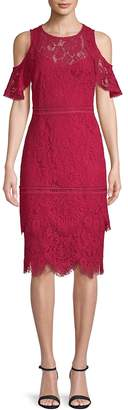 Laundry by Shelli Segal Women's Lace Cold-Shoulder Dress