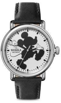 Shinola x Disney Mickey Classics Runwell Stainless Steel& Leather Strap Watch