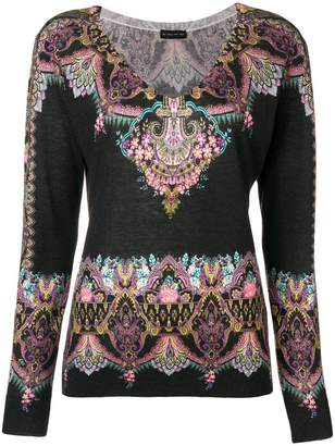 Etro printed fitted knitted top