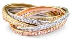 Effy Tri-Color 14 Kt. Gold Diamond Bands, Set of 6