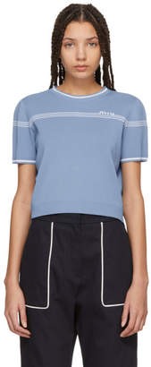 Miu Miu Blue Short Sleeve Button Back Crewneck Sweater