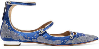 Aquazzura Claudia Schiffer Cloudy Star Embroidered Satin Point-toe Flats - Blue