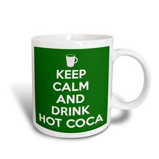 3dRose Keep calm and drink hot cocoa. Green., Ceramic Mug, 11-ounce