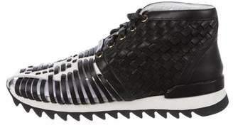 Balmain Woven High-Top Sneakers
