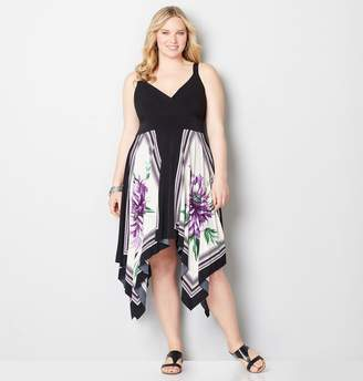 Avenue Purple Floral Handkerchief Empire Dress