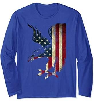 American Patriot Freedom Eagle USA Flag Long Sleeve Shirt