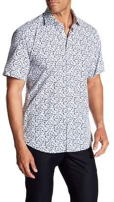Jared Lang Slim Fit Feather Print Sport Shirt