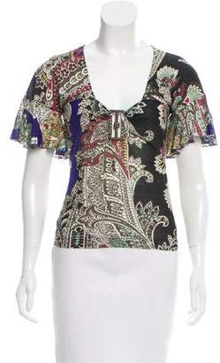 Just Cavalli Printed Ruffle-Accented Top