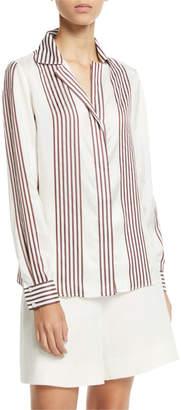 Loro Piana Striped Collared Long-Sleeve Silk Blouse
