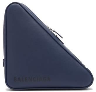 Balenciaga Triangle Pochette M Leather Clutch - Womens - Blue