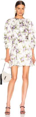 Les Rêveries Ruched Sleeve Godet Dress in Purple Rose Garden | FWRD