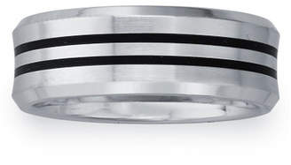 MODERN BRIDE Mens 8mm Cobalt & Black Enamel Double Stripe Wedding Band