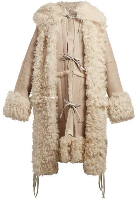 Tie Front Hooded Shearling Coat - Womens - Beige
