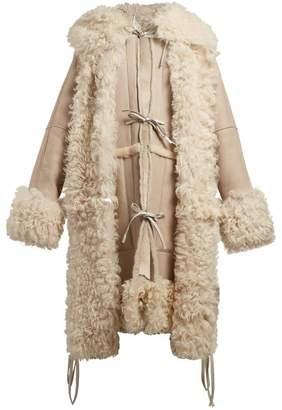 Loewe Tie Front Hooded Shearling Coat - Womens - Beige