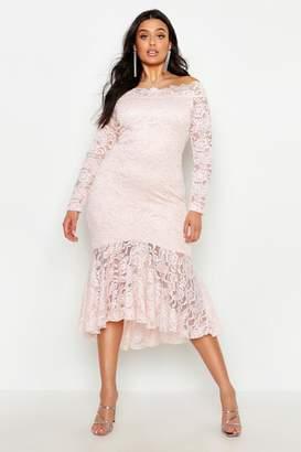 64eb1240d7b6f boohoo Plus Lace Bardot Ruffle Hem Midi Dress