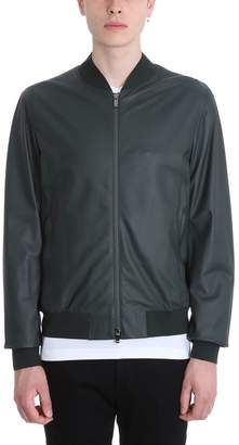 Ermenegildo Zegna Green Leather Bomber Jacket