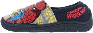 Marvel Boys Spiderman Flashing Badge Red & Blue Elasticated Slippers Kids Child Size 9