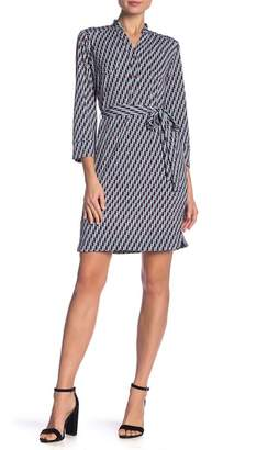 Donna Morgan 3/4 Sleeve Print Waist Tie Dress