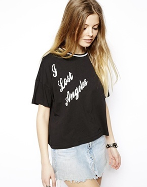 Asos Crop Top with I Lost Angeles Print - Black