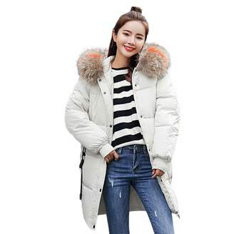 Pervobs Women Parkas&Down Jacket Pervobs Clearance Sale! Women Winter Warm Down Jackets Thick Padded Coat Hooded Zipper Pocket Slim Jacket Long Overcoat