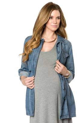 A Pea in the Pod Luxe Essentials Denim Button Detail Chambray Maternity Coat