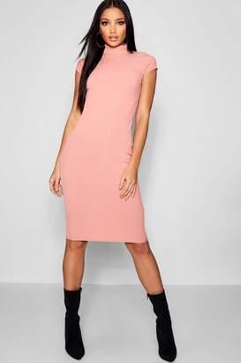 boohoo High Neck Short Sleeve Ribbed Midi Dress