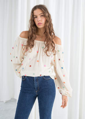 And other stories Billowy Embroidered Bardot Blouse