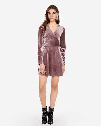 Express Velvet Surplice Fit And Flare Dress