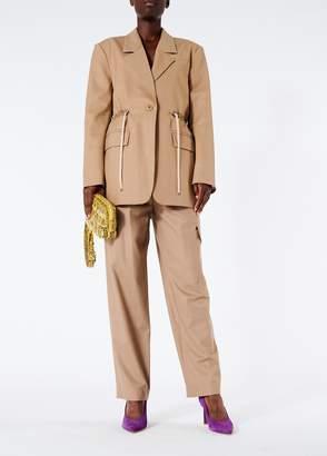 Tibi Tropical Wool Straight Leg Paperbag Pants