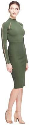 Lela Rose Crochet Detail Long Sleeve Fitted Knit Dress