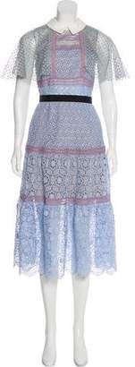 Self-Portrait Crocheted Midi Dress