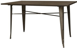 LOFT AmeriHome Rustic Gunmetal Metal Dining Table with Wood Top