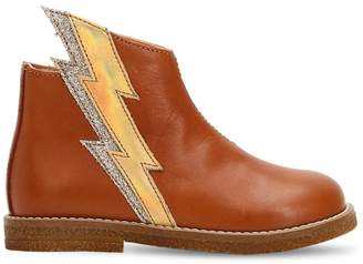 Ocra Lightning Bolt Leather Ankle Boots