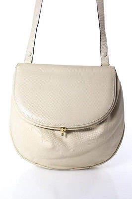 Bottega VenetaBottega Veneta Beige Embossed Leather Gold Tone Hinge Lock Crossbody Bag